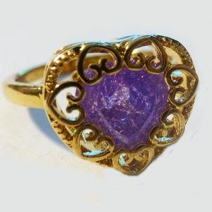 Jewelry - PURPLE CRYSTAL RING - Gold Plated CZ sz7.5 Jewelry